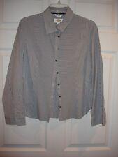 Talbots blouse size M Medium Petite LS EUC button gray and white stripe