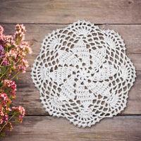4Pcs/Lot Vintage Crochet Cotton Doilies Round Lace Table Mats White 20cm