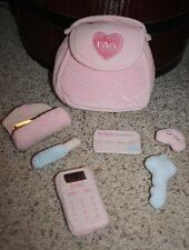 FAO SCHWARZ Plush First Purse Pink Keys Credit Card LipStick Cell Phone  #AA2