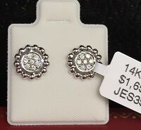 14K White Solid Gold Small Round Stud Earrings, Genius Diamond 0.10CT,Was $1650