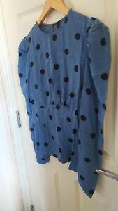 Nobody's Child Blue Polka Dots Peplum Blouse SZ 10 BNWT Sustainable Fabric