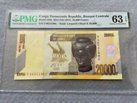 2013 ND 2017 Bank Centrale Congo Democratic Republic 20,000 Francs PMG Certified