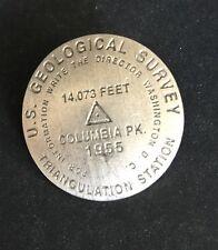 Rare US Geological Survey B.M. Bench Mark COLUMBIA PEAK 14,073 Ft Pin Badge