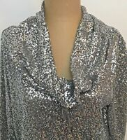 Chicos Zenergy Silver Sequined Cowl Neck Top Size 0 Gray 3/4 Sleeve S Resortwear