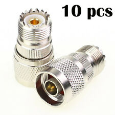 10 Pcs New Silver Straight N Male To Mini UHF PL-259 Female Jack Coax RF Adapter