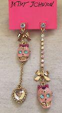 BETSEY JOHNSON Viva La Betsey Pink Sugar Skull Crystal Mismatch Earrings RARE