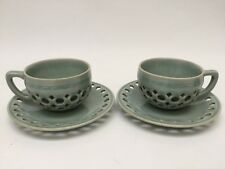 2 Vintage Korean Celadon Pierced Double Walled Cups and Saucers Set Green Glazed