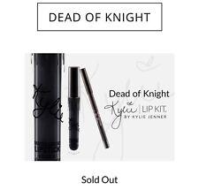 Kylie Cosmetics DEAD OF KNIGHT NIB Matte Black Lip Kit Set Kylie Jenner w/ card