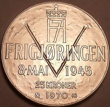 Unc Silver Norway 1970 25 Kroner~25th Anniversary Of Liberation~Free Shipping