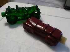 2 Vintage Avon Antique Car Decanter Green Glass Tai Wild /Country After Shave