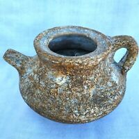 Ancient Vintage Pottery With Handle Jug Beauty Pot Holy Land Handmade Glitter