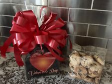 Valentine's Day Gift Basket-Box Chocolate Chip Cookies With Red Bow