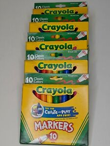 (LOT of 5) Crayola Classic Markers, Broad Line 10 Each Package Kids Multi Color