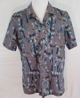 Hawaiian Shirt Men's Large Aloha Tiki Bar Bamboo Silver & Blue Short Sleeve