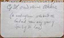 BILL/C. W. VAN DEN AKKER Autograph: Spirit of St. Louis Woodcraftsman - Aviation