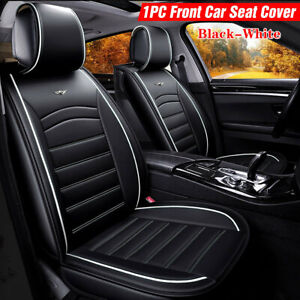 US Universal PU Leather Car SUV Seat Cover Front Deluxe Cushion Protector Black