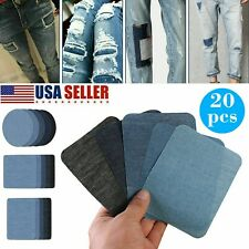 20X Denim Patches Clothes Diy Stripes Iron on Appliques Jeans Clothing Stickers