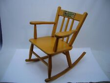 VTG Wooden Child's Rocking Chair Lull-A-Bye & Good Night Mid Century Porch Decor