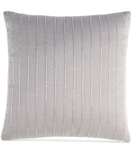 "Hotel Collection Keystone 16"" x 16"" Beaded Decorative Pillow Silver"