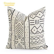 Hofdeco Premium Heavy Weight Cushion Case Boho African Mud Cloth Pillow Cover Natural Geo Stripe 50x50cm