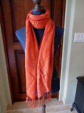 """Women' D & Y Pashmina Scarf Wrap Shawl Orange Paisley NWT 28"""" X 70"""" plus fringe"""
