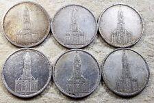 UNIQUE 6 x Full Mint Set 5 ReichsMark Potsdam Church 1934 Nazi Silver Coins L1