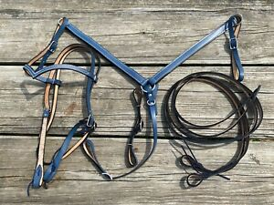 Slate blue leather Western horse headstall/ breast collar/ rein set US made