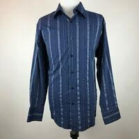 Pardazzio Uomo Men's 3XL Long Sleeve Button Shirt Blue Rayon Blend