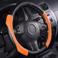Universal Leather Car Steering Wheel Cover Orange For Women Girls SUV Sedan Van