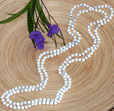 """White Magnesite 80"""" Long Beaded Necklace Hand-Knotted"""