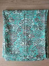 "Rectangle 90x107"" 100% Cotton Aqua Brown White Botanical Print Table Cloth NWOT"