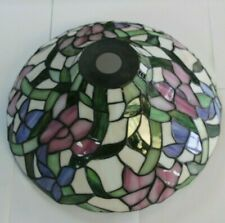 DALE TIFFANY INK 14 INCH HANDMADE STAINED-GLASS FLORAL SHADE