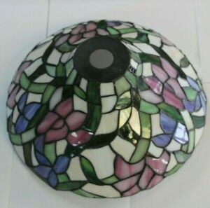 DALE TIFFANY - 14 INCH HANDMADE STAINED-GLASS FLORAL LAMPSHADE SHADE