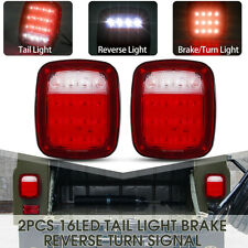Pair 16LED Truck Trailer Stop Turn Tail Back up Light Stud Mount Boat Waterproof