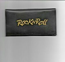 Rock N Roll Leather Checkbook Cover Gold/ Black New Rock And Roll
