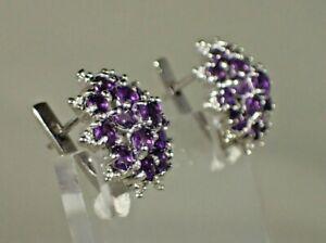Intense Purple Uruguay Amethyst 14k Gold Plated on .925 Silver Earrings  #1569
