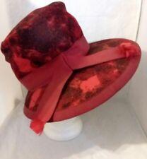 Norman Durand Mushroom Hat Red Black Vintage Size 22 Ribbon Hatband Union USA