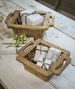 Square Seagrass and Wooden Basket Storage Rustic
