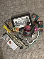 Vintage Junk Lot Music Seminole Doll Jewelry Art Matches Money, Coin Glass +++