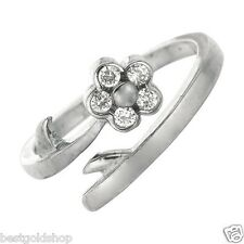 925 Sterling Silver One Size Fits All Adjustable Floral Round Cz Toe Ring Real