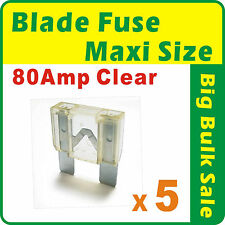 5 x Maxi Blade Fuse 80 Amp Clear Automobile Boat