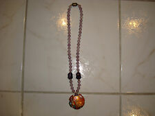 Vintage David Kuo Champleve Necklace with Amethyst Beads & Pendant! Signed!