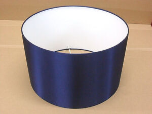 """Hand Made 8"""" Rolled Edge Navy Blue Satin Lampshade"""
