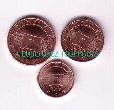 Pièces de 1,2,5cts euros de Malte 2008.