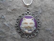 KITTY CAT CAMEO NECKLACE PENDANT (cream/plum/purple/) 925 PLATE CHAIN--NICE !!!