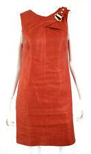 GUCCI Rust Orange Hemp Silk Buckle Detail Sleeveless Sheath Dress 40