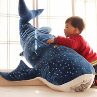 Blue Shark Animals Stuffed Plush Fluffy Toys Big Fish Cloth Doll Whale Kids Gift