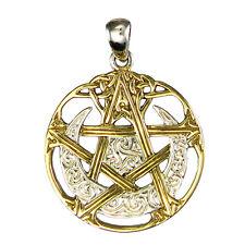 Sterling Silver Moon Pentacle Wicca Pentagram Pendant Gold Plated Dryad Design