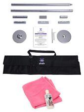 45mm X Pole SPORT Chrome Portable Dance Pole X-pole + Mighty Grip + Pink Towel X