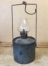 Vintage Miners / Workshop Oil Paraffin Lamp with Original Glass Chimney Lattern